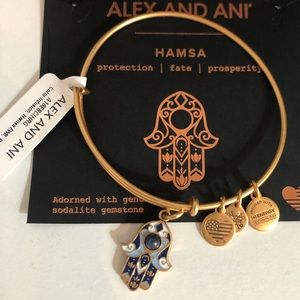 NWT Alex + Ani HAMSA Sodalite Charm Bangle Gold
